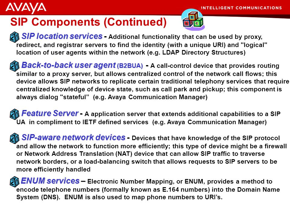 27 © 2007 Avaya Inc. All rights reserved. SIP Infrastructure Components SIP User Agent - SIP User Agent - Any network endpoint that can originate or t