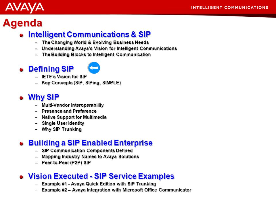 8 © 2007 Avaya Inc. All rights reserved. Intelligent Communications Redefining the way People, Processes, and Information Connect SIP SOA INTELLIGENCE