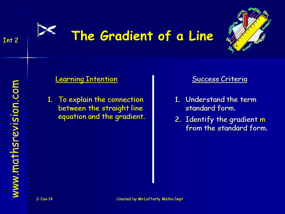 2-Jun-14Created by Mr.Lafferty Maths Dept www.mathsrevision.com Learning Intention Success Criteria 2.Identify the gradient m from the standard form.