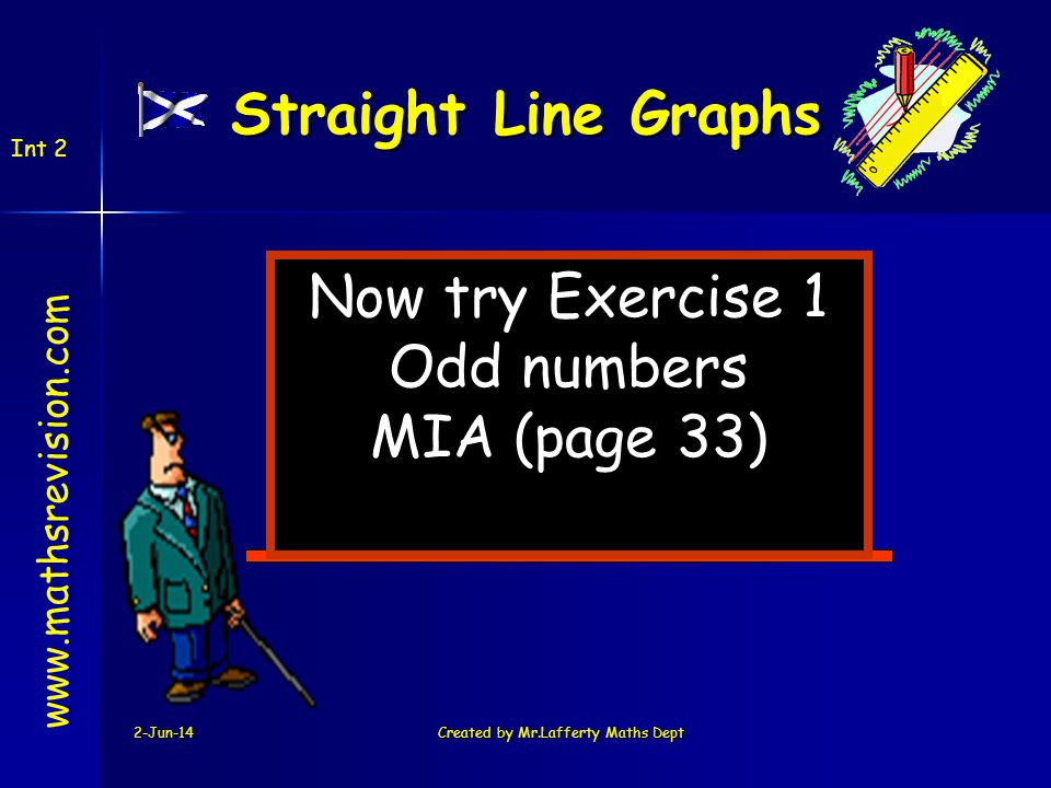 2-Jun-14Created by Mr.Lafferty Maths Dept Now try Exercise 1 Odd numbers MIA (page 33) www.mathsrevision.com Int 2 Straight Line Graphs