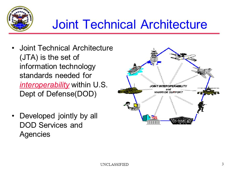UNCLASSIFIED 3 Joint Technical Architecture Joint Technical Architecture (JTA) is the set of information technology standards needed for interoperabil