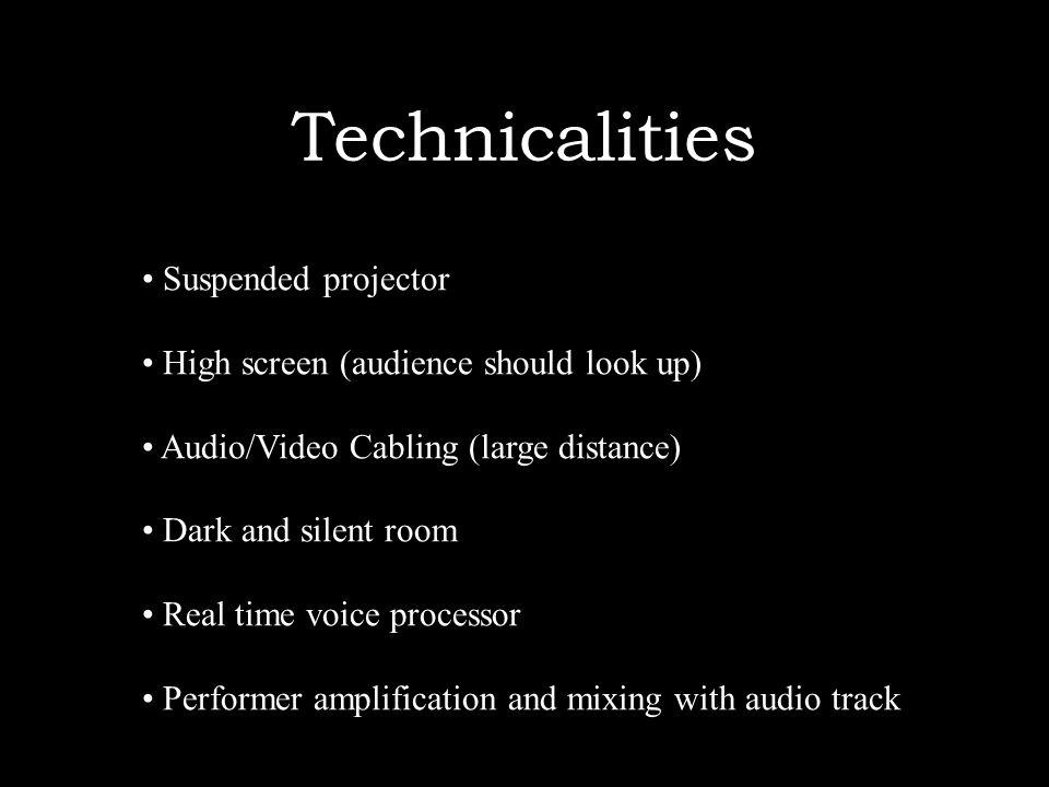 Technicalities Suspended projector High screen (audience should look up) Audio/Video Cabling (large distance) Dark and silent room Real time voice processor Performer amplification and mixing with audio track