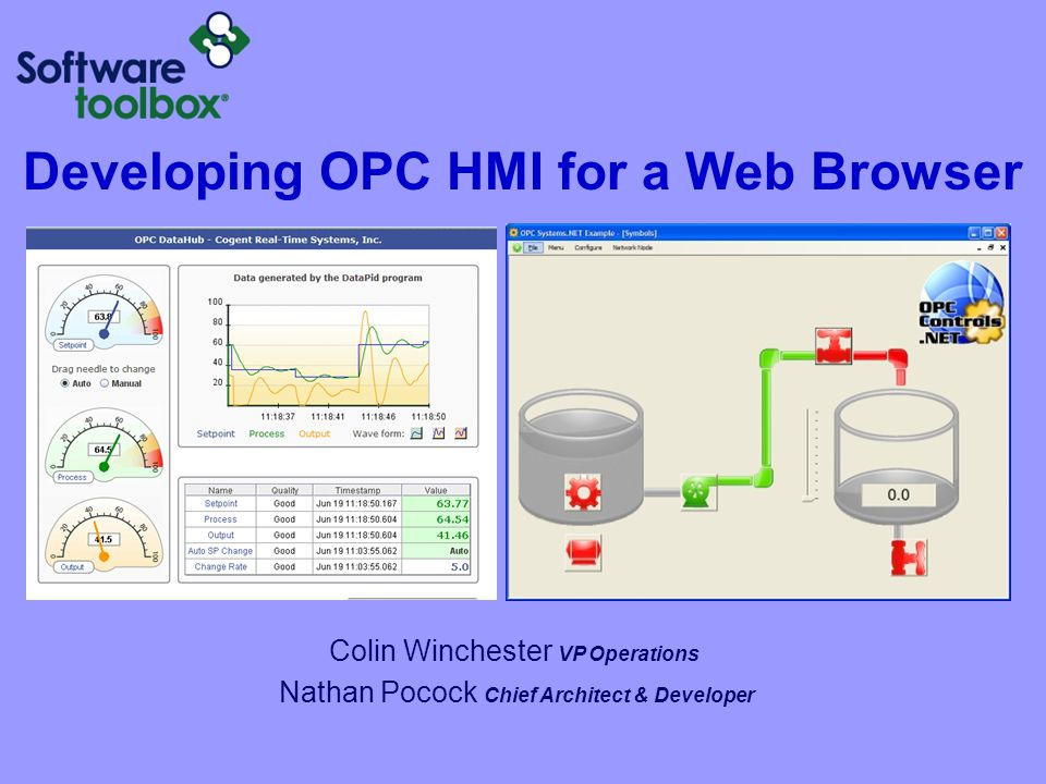 Developing OPC HMI for a Web Browser Colin Winchester VP Operations Nathan Pocock Chief Architect & Developer