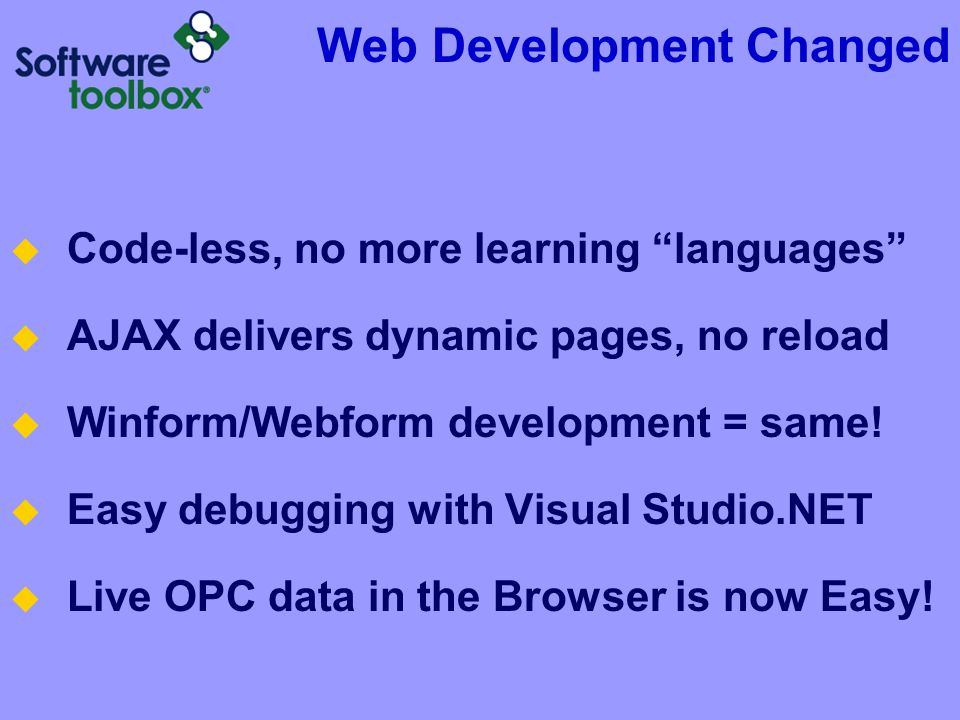 Web Development Changed Code-less, no more learning languages AJAX delivers dynamic pages, no reload Winform/Webform development = same! Easy debuggin