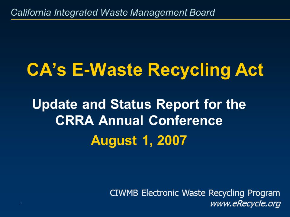 California Integrated Waste Management Board 12 Public Education and Outreach Recent upgrade to eRecycle.org website –Google Maps now guide browsers to facility locations