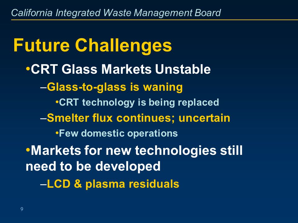 California Integrated Waste Management Board 9 Future Challenges CRT Glass Markets Unstable –Glass-to-glass is waning CRT technology is being replaced