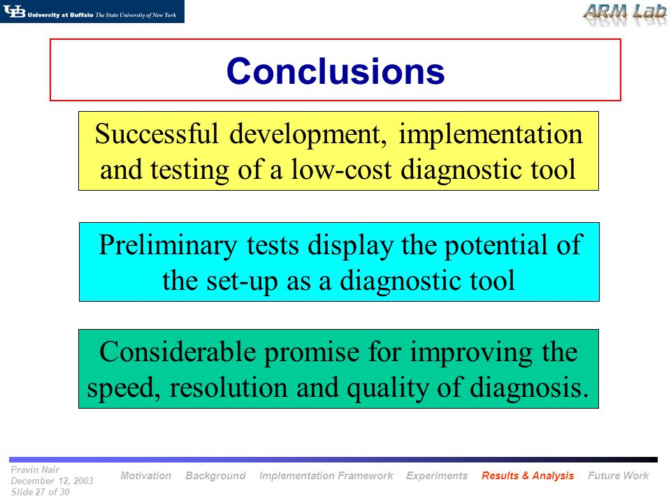 Pravin Nair December 12, 2003 Slide 27 of 30 Conclusions Considerable promise for improving the speed, resolution and quality of diagnosis. Successful