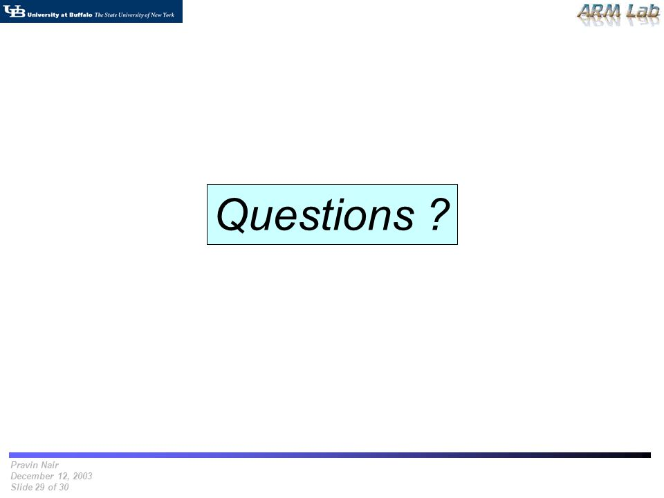 Pravin Nair December 12, 2003 Slide 29 of 30 Questions ?