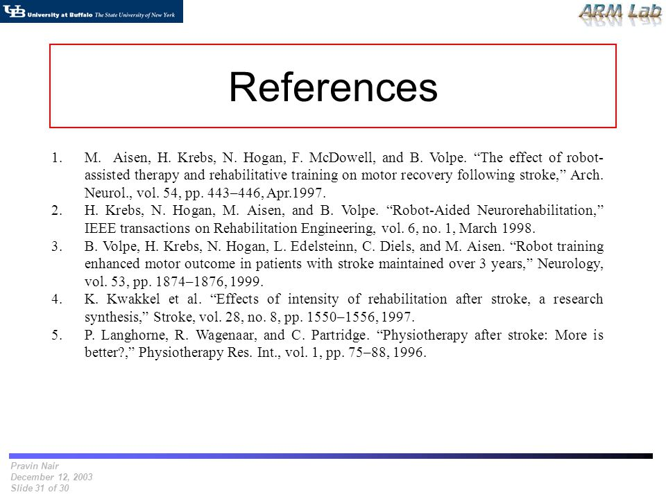 Pravin Nair December 12, 2003 Slide 31 of 30 References 1.M. Aisen, H. Krebs, N. Hogan, F. McDowell, and B. Volpe. The effect of robot- assisted thera