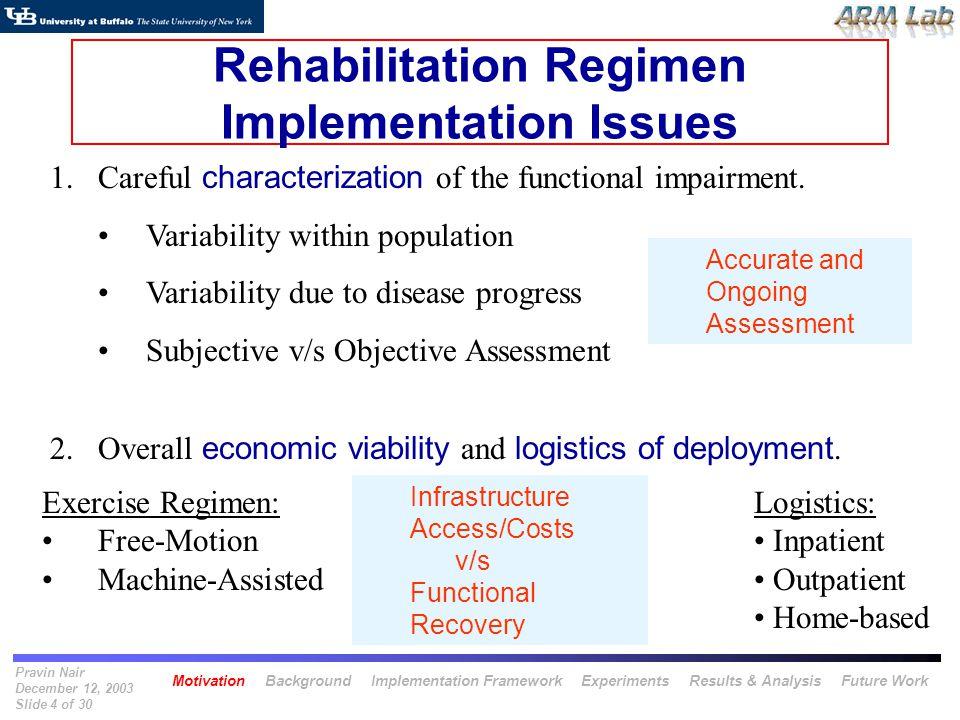Pravin Nair December 12, 2003 Slide 4 of 30 Rehabilitation Regimen Implementation Issues 1.Careful characterization of the functional impairment. Vari
