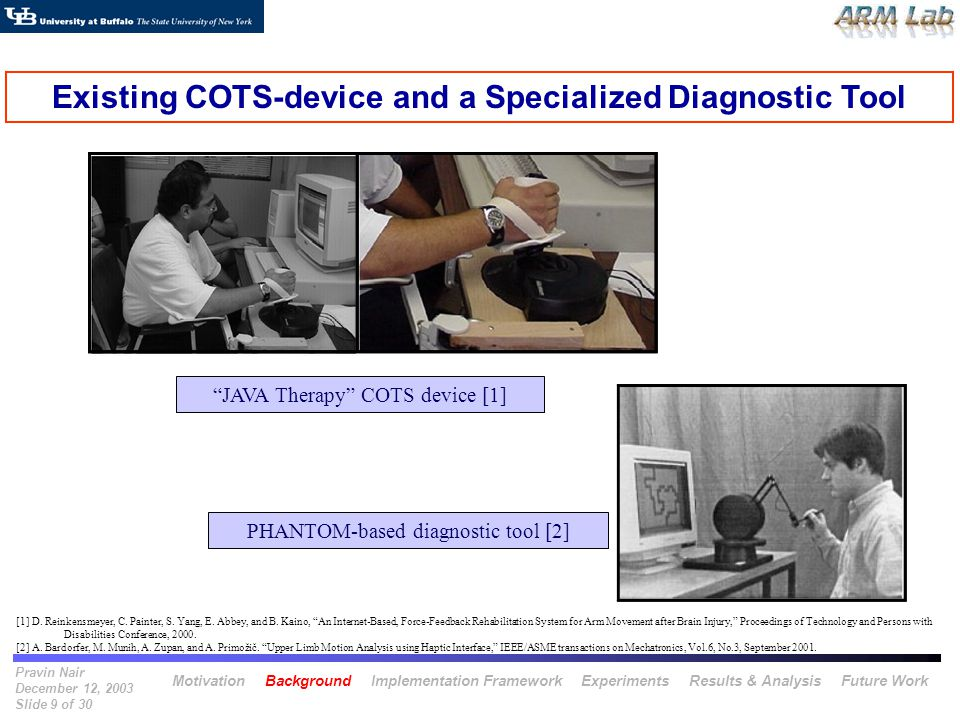 Pravin Nair December 12, 2003 Slide 9 of 30 JAVA Therapy COTS device [1] Existing COTS-device and a Specialized Diagnostic Tool PHANTOM-based diagnost