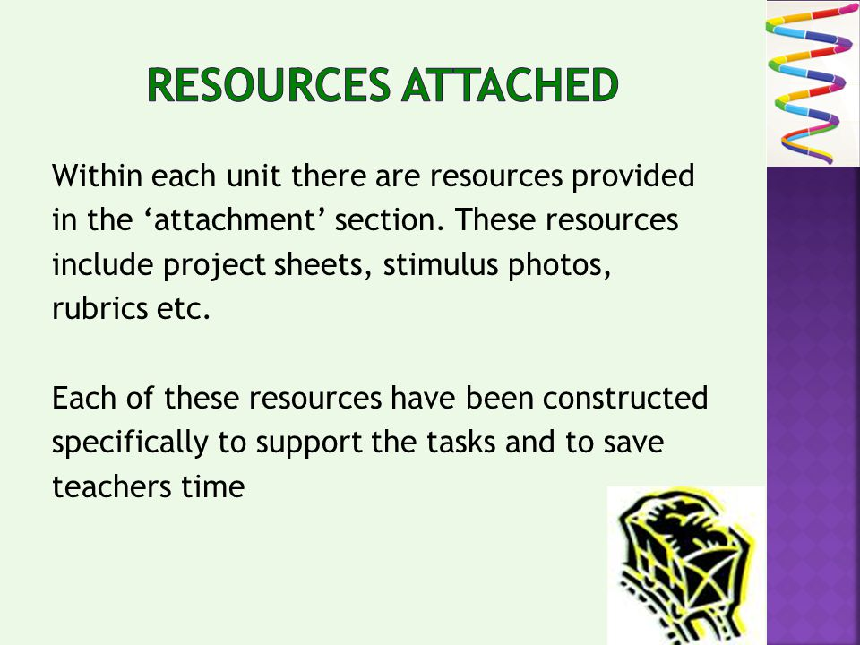 Within each unit there are resources provided in the attachment section.