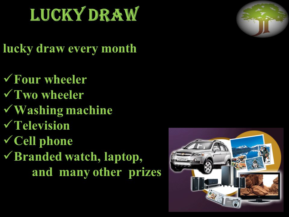 Lucky draw lucky draw every month Four wheeler Two wheeler Washing machine Television Cell phone Branded watch, laptop, and many other prizes