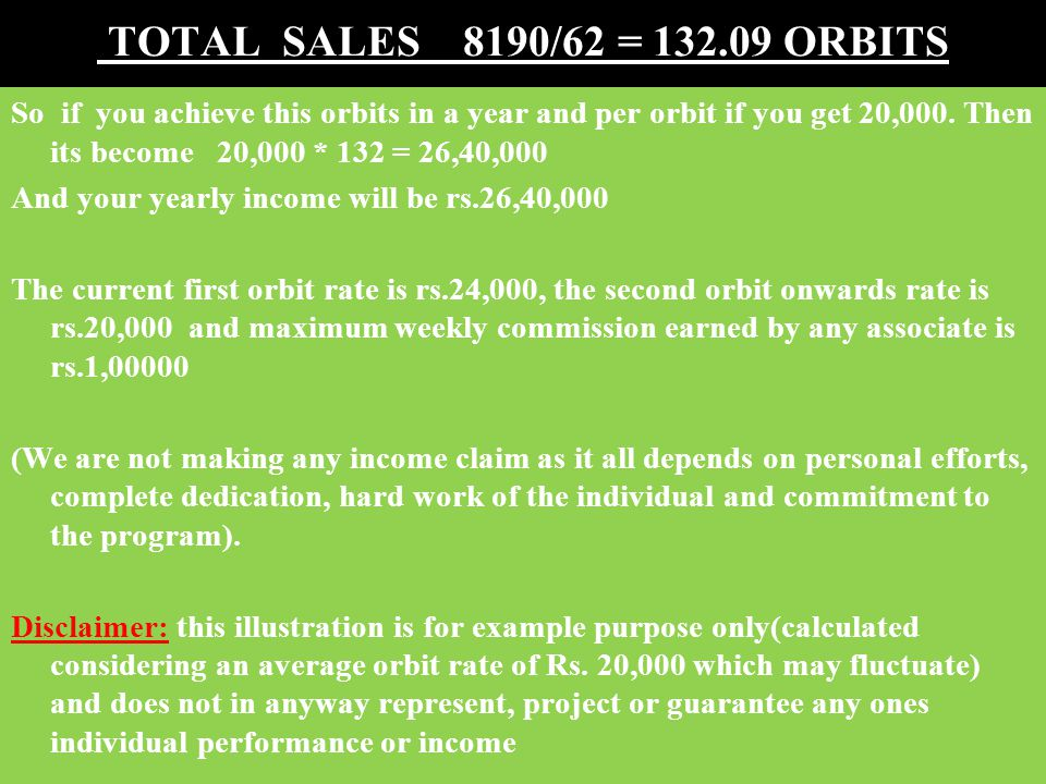 TOTAL SALES 8190/62 = 132.09 ORBITS So if you achieve this orbits in a year and per orbit if you get 20,000.
