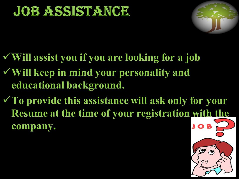 Job assistance Will assist you if you are looking for a job Will keep in mind your personality and educational background.