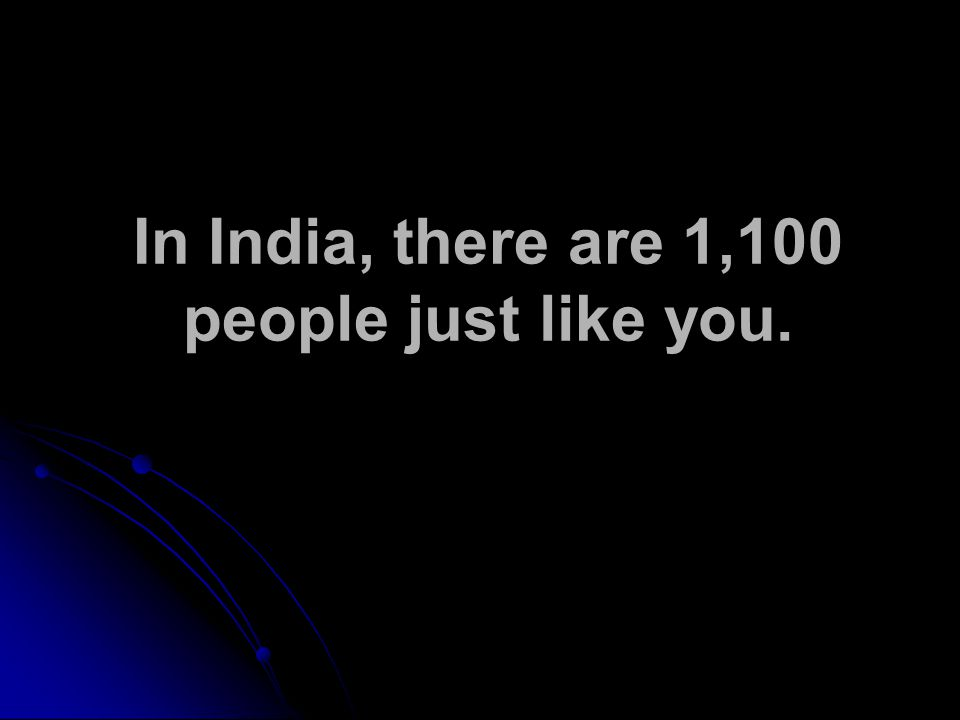 In India, there are 1,100 people just like you.