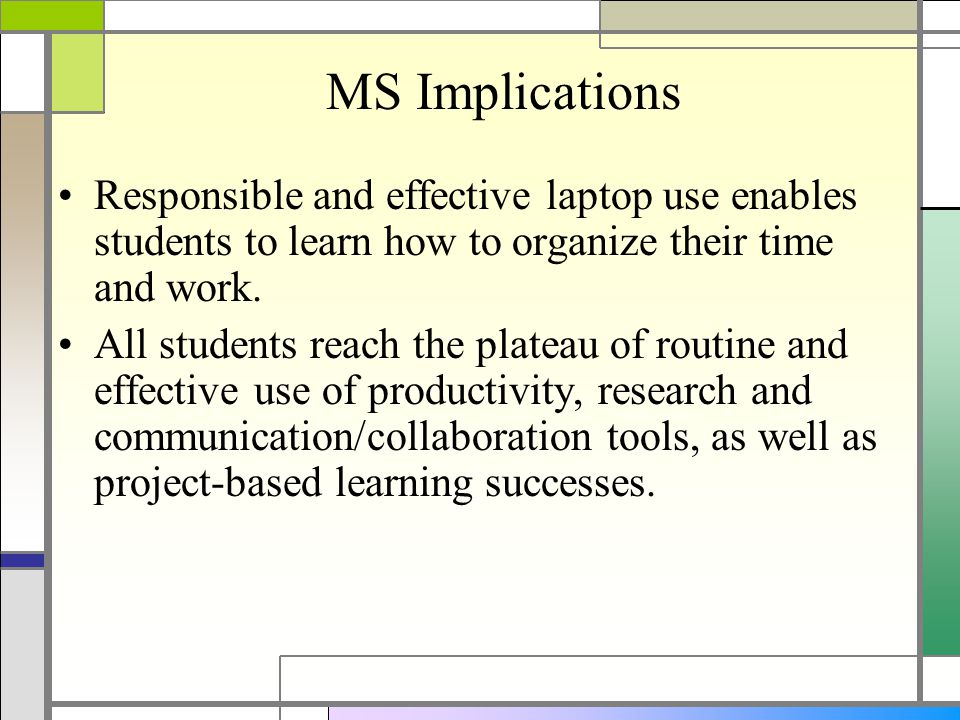 MS Implications Responsible and effective laptop use enables students to learn how to organize their time and work.