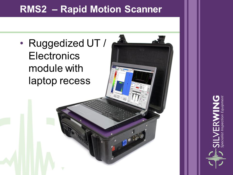 Ruggedized UT / Electronics module with laptop recess RMS2 – Rapid Motion Scanner