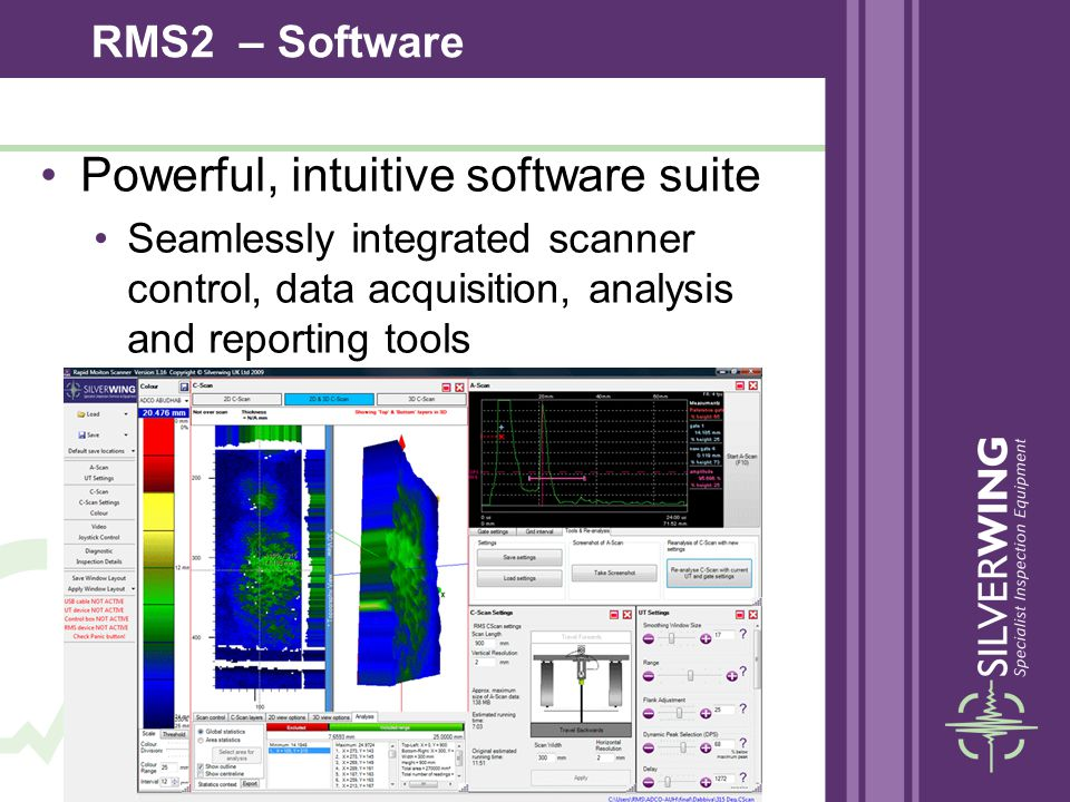 Powerful, intuitive software suite Seamlessly integrated scanner control, data acquisition, analysis and reporting tools RMS2 – Software