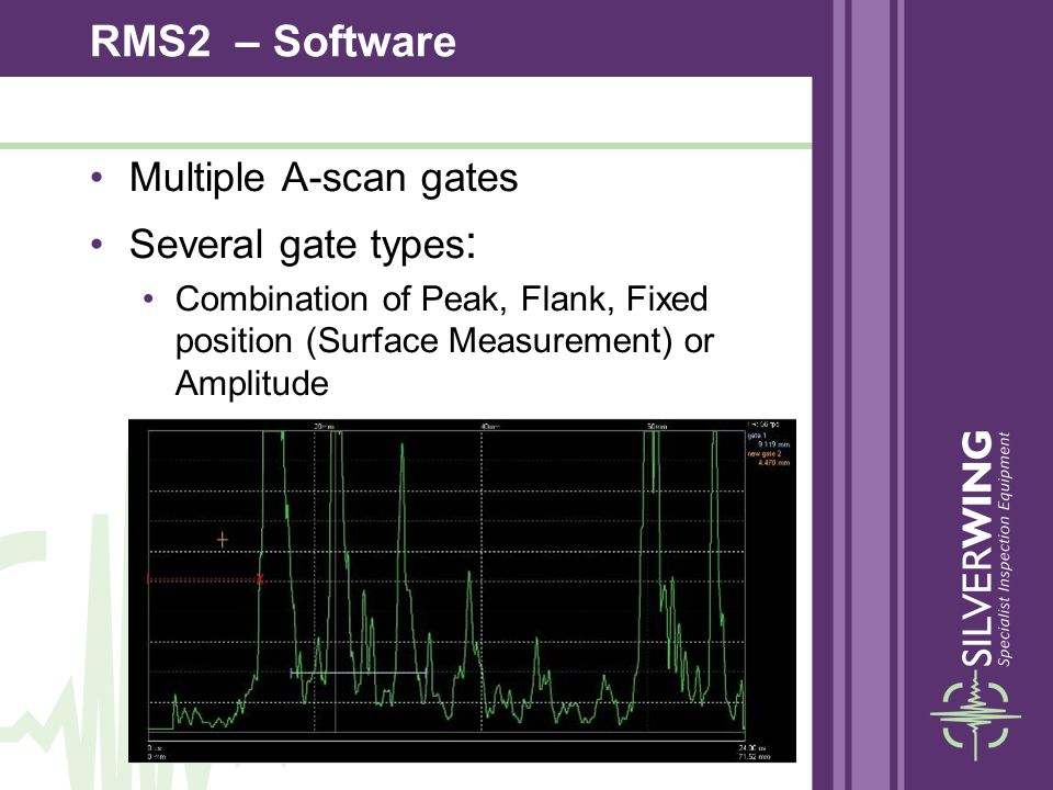 Multiple A-scan gates Several gate types : Combination of Peak, Flank, Fixed position (Surface Measurement) or Amplitude RMS2 – Software
