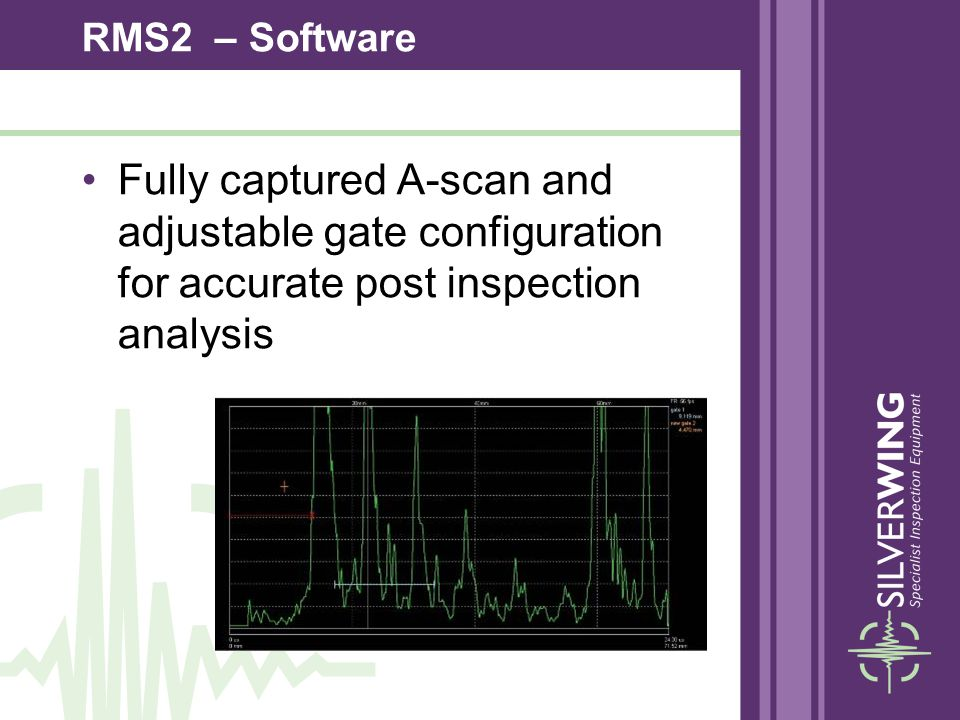 Fully captured A-scan and adjustable gate configuration for accurate post inspection analysis RMS2 – Software
