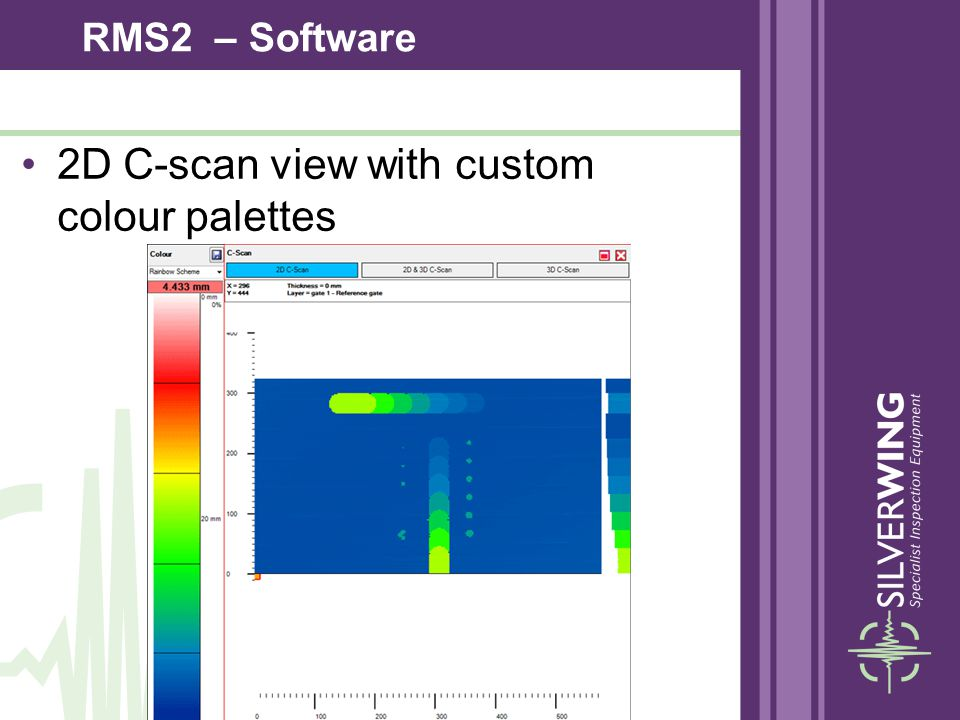 2D C-scan view with custom colour palettes RMS2 – Software