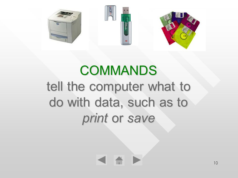 10 COMMANDS tell the computer what to do with data, such as to print print or save
