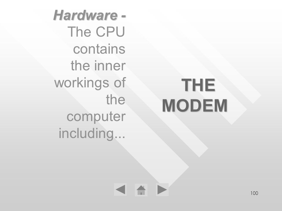 100 THE MODEM Hardware - The CPU contains the inner workings of the computer including...