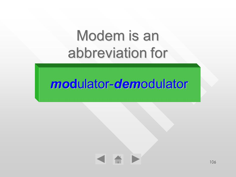 106 Modem is an abbreviation for modulator-demodulator