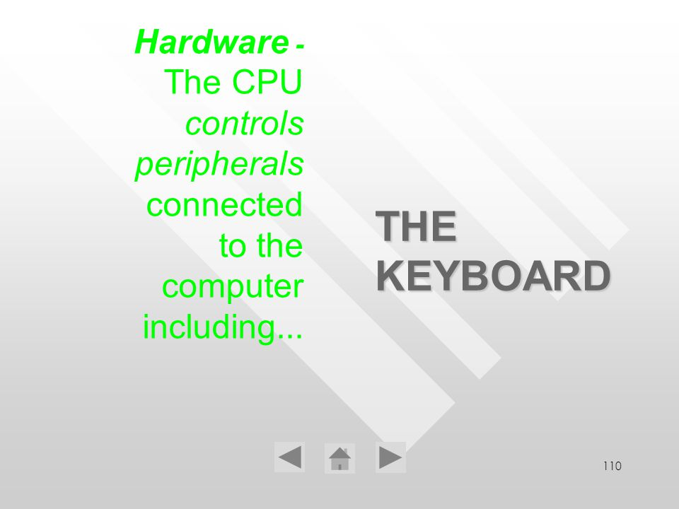 110 THE KEYBOARD Hardware - The CPU controls peripherals connected to the computer including...