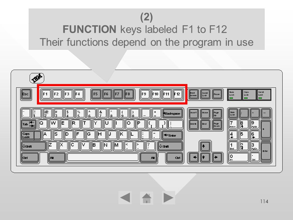 114 (2) FUNCTION keys labeled F1 to F12 Their functions depend on the program in use