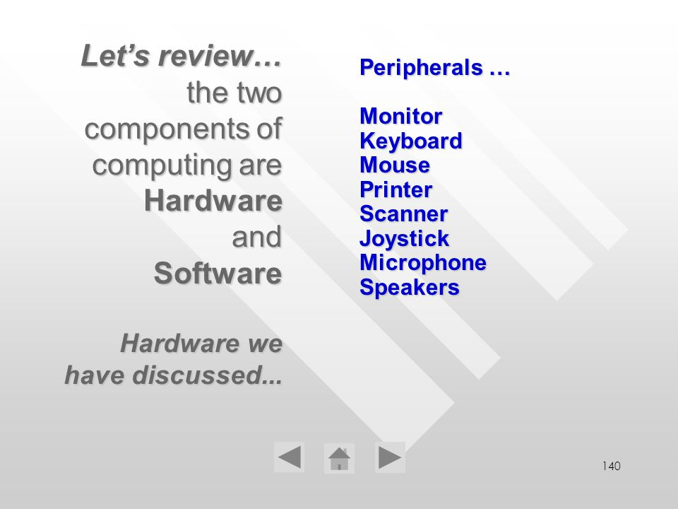 140 Peripherals … Monitor Keyboard Mouse Printer Scanner Joystick Microphone Speakers Lets review… the two components of computing are Hardware and So