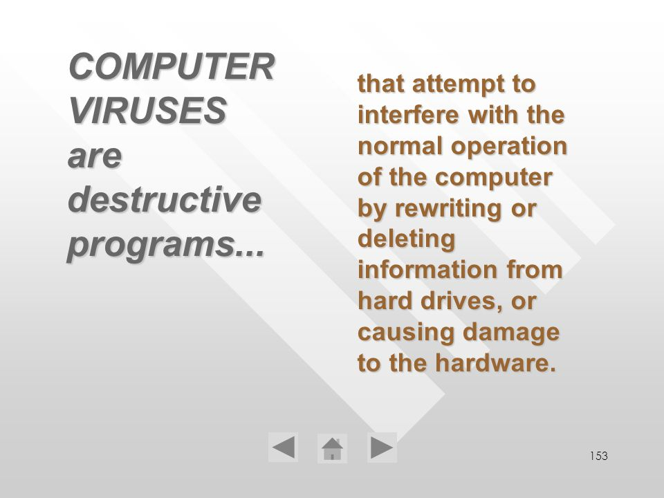 153 COMPUTER VIRUSES are destructive programs... that attempt to interfere with the normal operation of the computer by rewriting or deleting informat