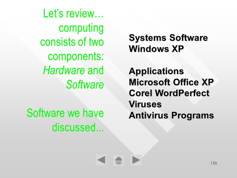 156 Lets review… computing consists of two components: Hardware and Software Software we have discussed... Systems Software Windows XP Applications Mi