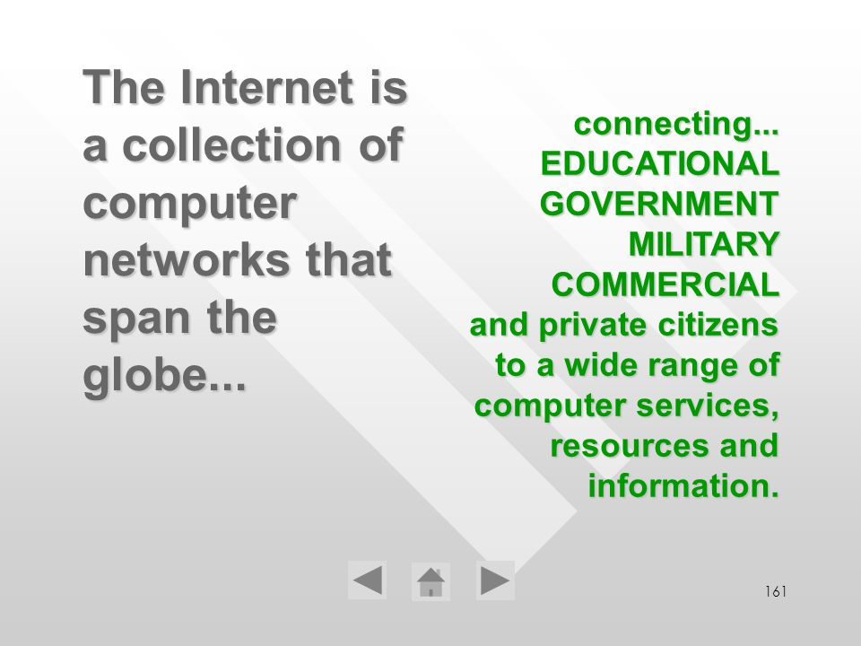 161 The Internet is a collection of computer networks that span the globe... connecting... EDUCATIONAL GOVERNMENT MILITARY COMMERCIAL and private citi