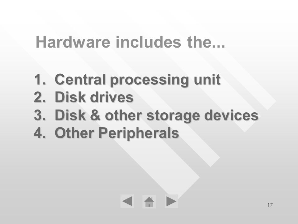17 1. Central processing unit 2. Disk drives 3. Disk & other storage devices 4. Other Peripherals Hardware includes the...