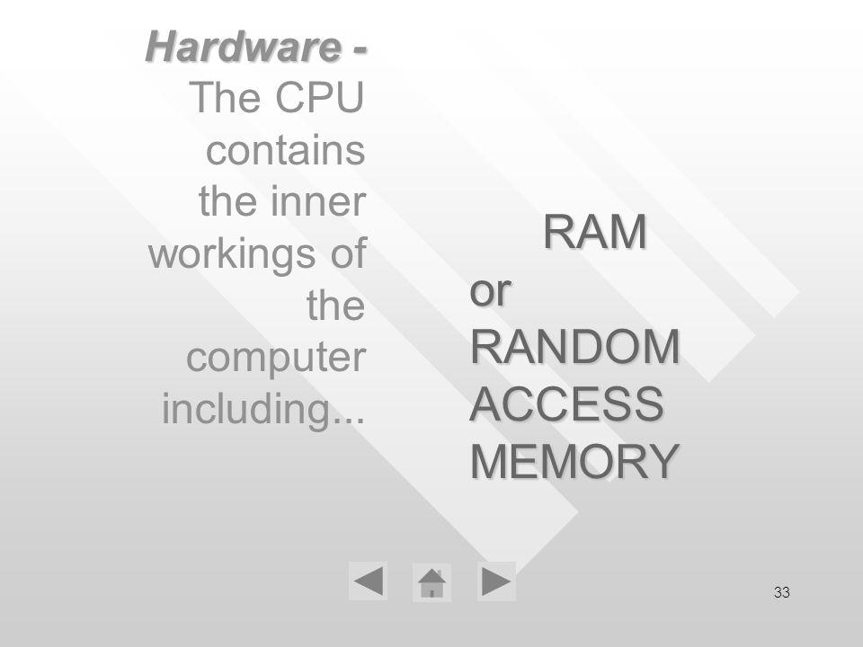 33 RAM or RANDOM ACCESS MEMORY Hardware - The CPU contains the inner workings of the computer including...