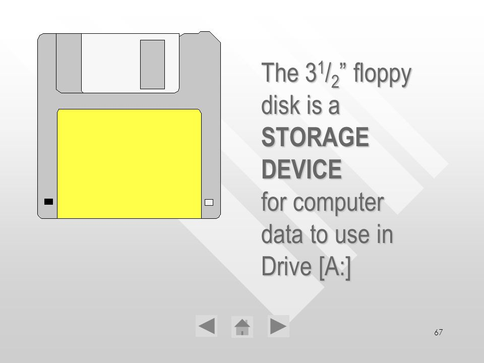 67 The 31/2 31/2 31/2 31/2 floppy disk is a STORAGE DEVICE for computer data to use in Drive [A:]
