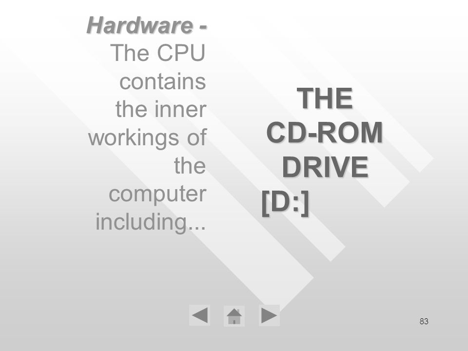 83 THE CD-ROM DRIVE [D:] Hardware - The CPU contains the inner workings of the computer including...