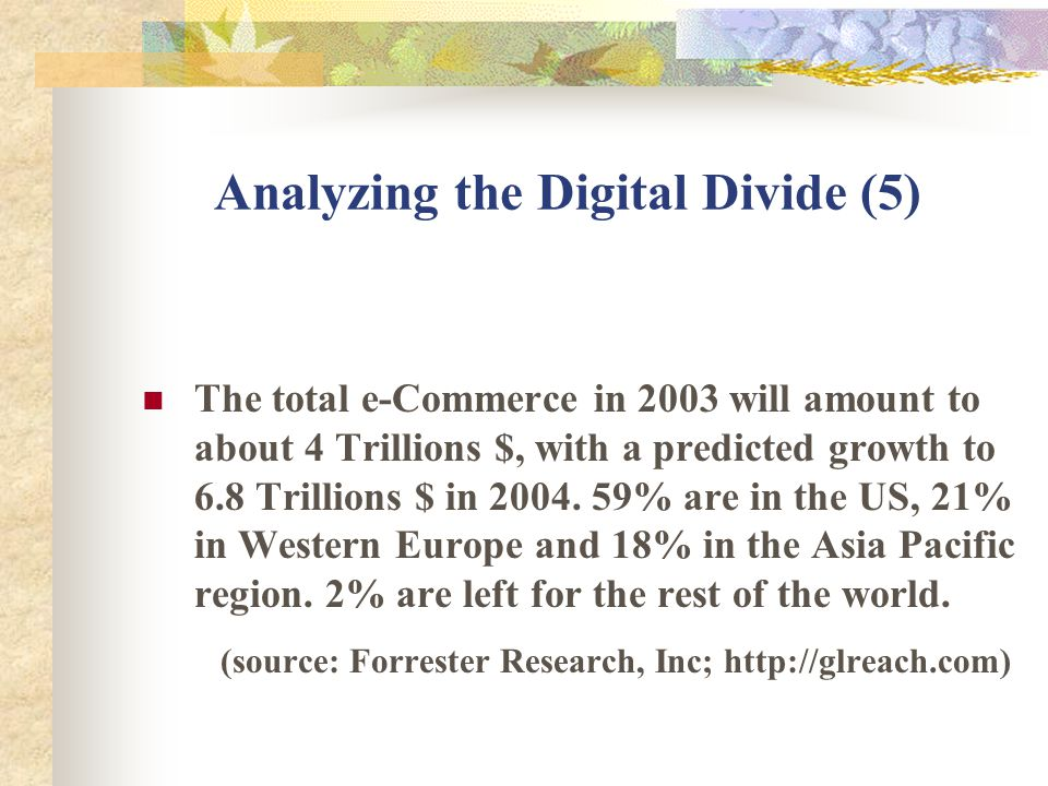 Analyzing the Digital Divide (5) The total e-Commerce in 2003 will amount to about 4 Trillions $, with a predicted growth to 6.8 Trillions $ in 2004.