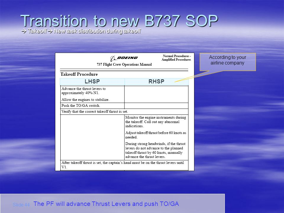 The PF will advance Thrust Levers and push TO/GA LHSPRHSP According to your airline company Transition to new B737 SOP Slide 44 Takeoff New task distr