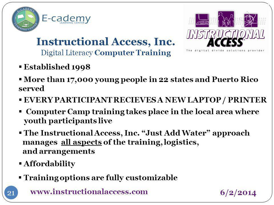 6/2/2014 www.instructionalaccess.com 21 Instructional Access, Inc.