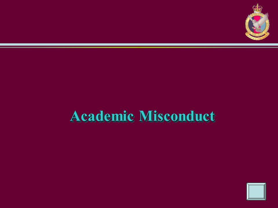 Academic Misconduct Academic Misconduct