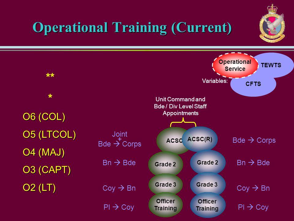CFTS TEWTS ** * O6 (COL) O5 (LTCOL) O4 (MAJ) O3 (CAPT) O2 (LT) Operational Service Variables: Operational Training (Current) Unit Command and Bde / Di
