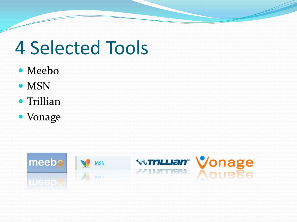 4 Selected Tools Meebo MSN Trillian Vonage