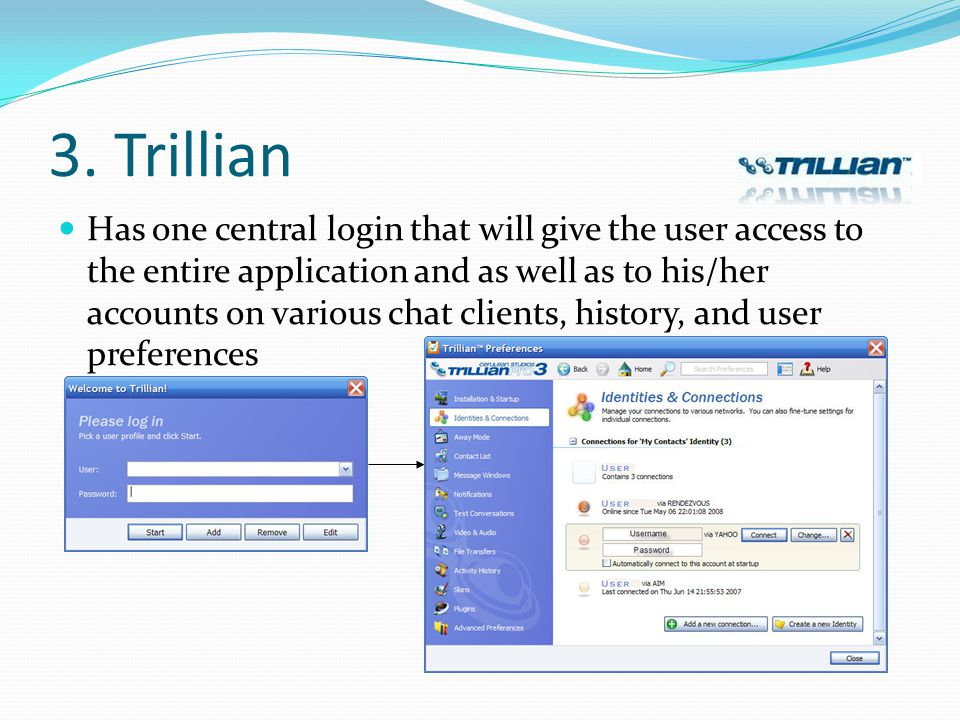 Has one central login that will give the user access to the entire application and as well as to his/her accounts on various chat clients, history, an