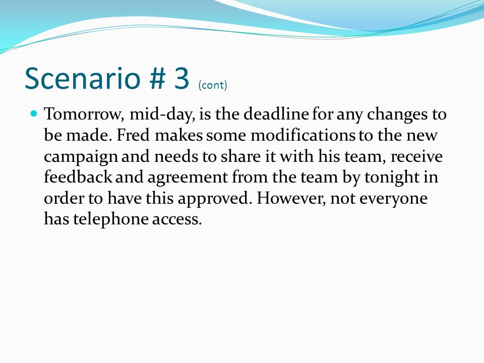 Scenario # 3 (cont) Fred is still in the office with LAN and internet access.