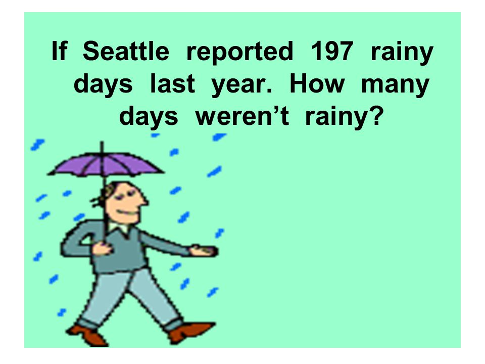 If Seattle reported 197 rainy days last year. How many days werent rainy?