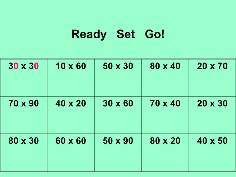 Ready Set Go! 30 x 3010 x 6050 x 3080 x 4020 x 70 70 x 9040 x 2030 x 6070 x 4020 x 30 80 x 3060 x 6050 x 9080 x 2040 x 50