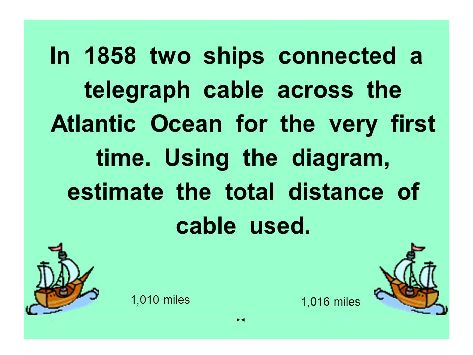 In 1858 two ships connected a telegraph cable across the Atlantic Ocean for the very first time. Using the diagram, estimate the total distance of cab